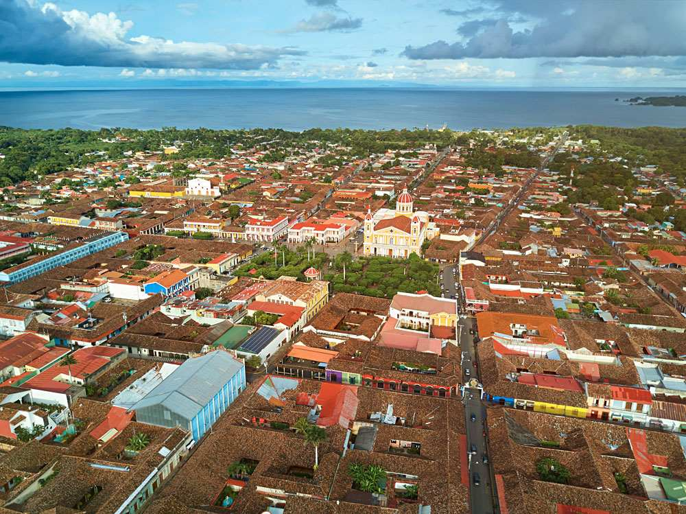Aerial view of colonial town of Granada in Nicaragua