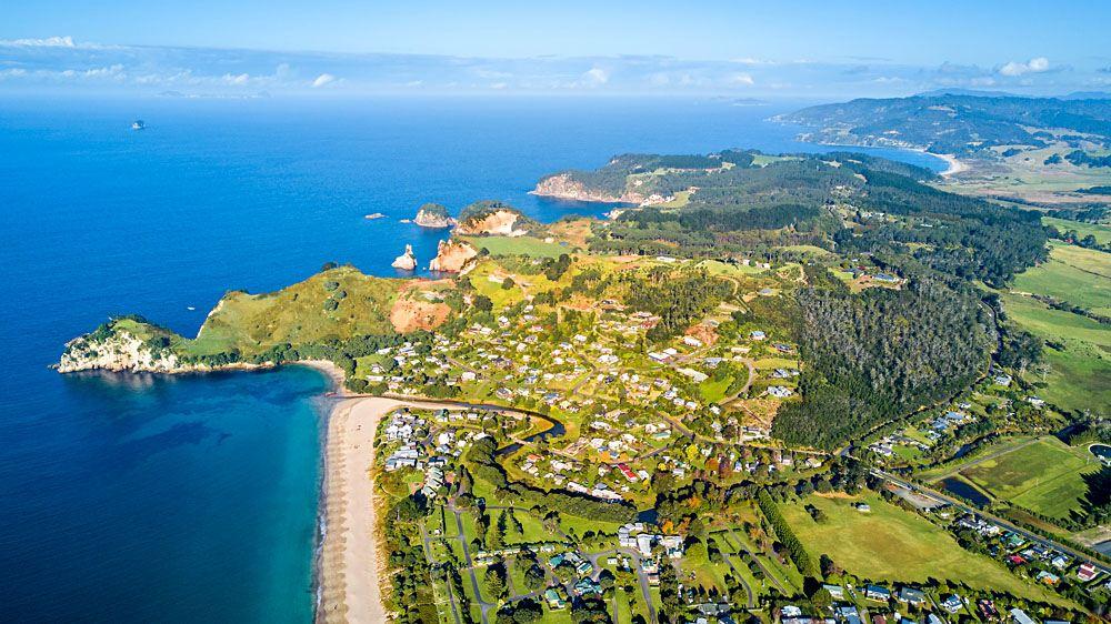Aerial view of sunny beach, Coromandel Peninsula, New Zealand