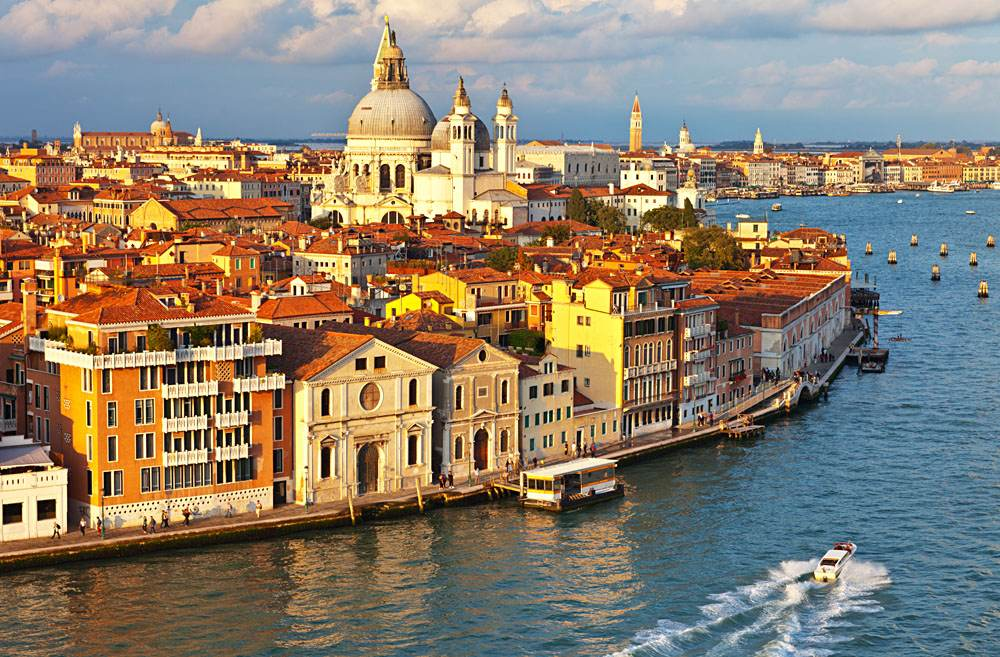 Aerial view of the Dorsoduro district in Venice, Italy