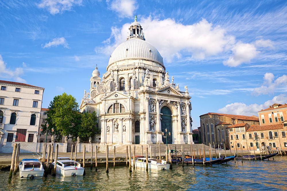 Basilica Santa Maria della Salute on Grand Canal in Venice, Italy