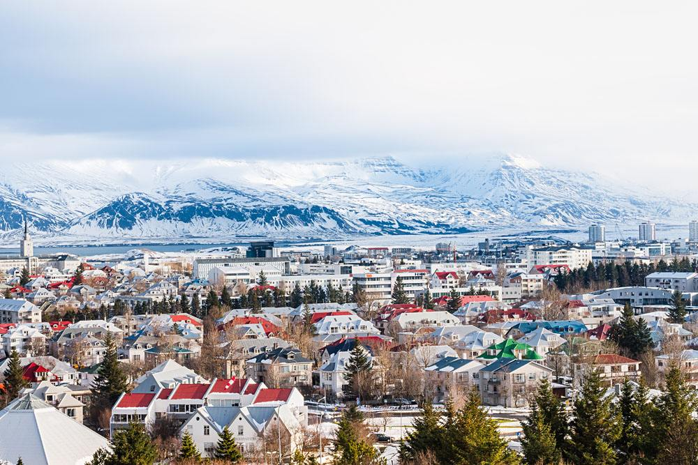 Beautiful view of Reykjavik during winter, Iceland