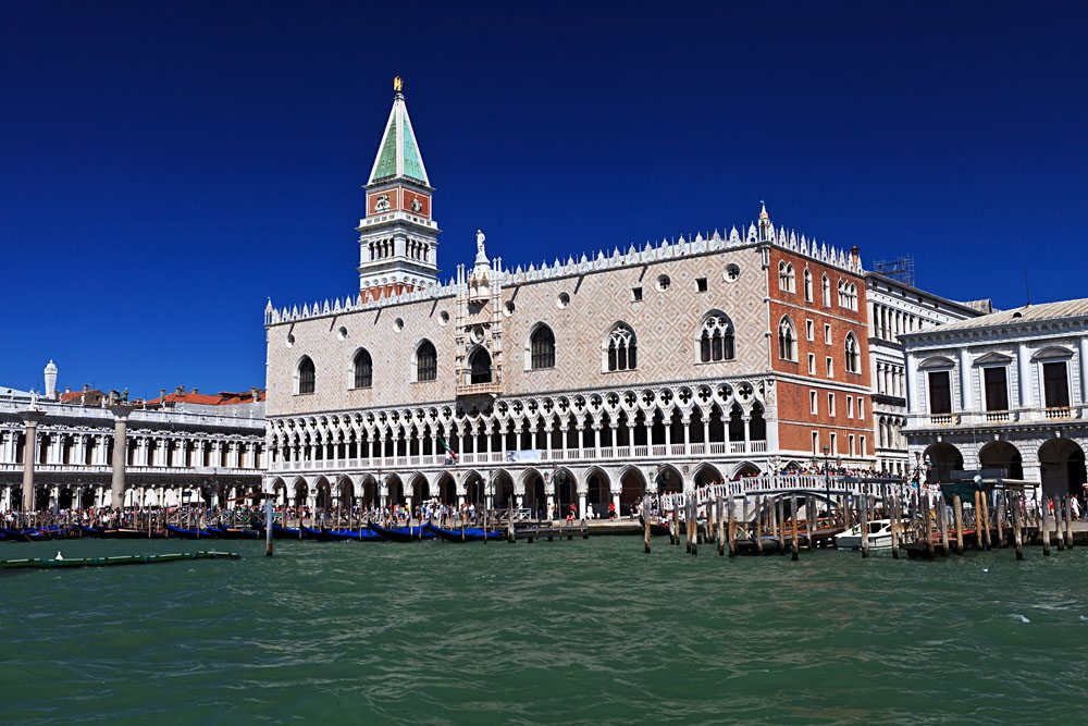 Campanile and Doge's Palace in Piazza San Marco, Venice, Italy