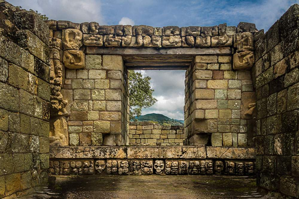 Carved detail of Mayan Ruins at Copan Archaeological Site, Honduras