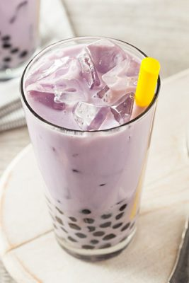 Homemade Taro Milk Bubble Tea with Tapioca Pearls