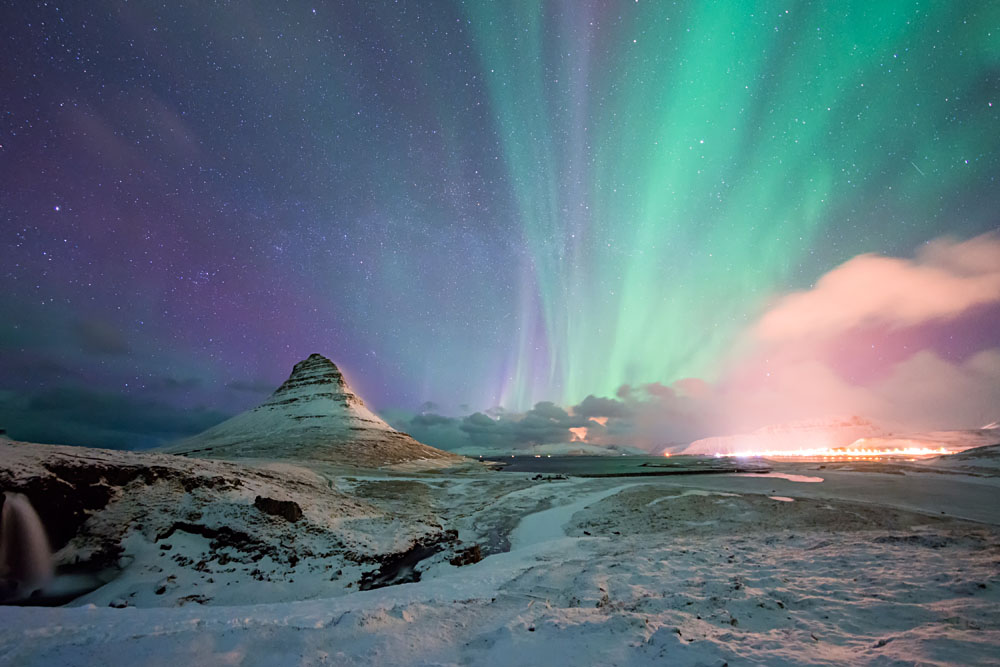 Kirkjufell Mountain with the Northern Lights in winter, Iceland