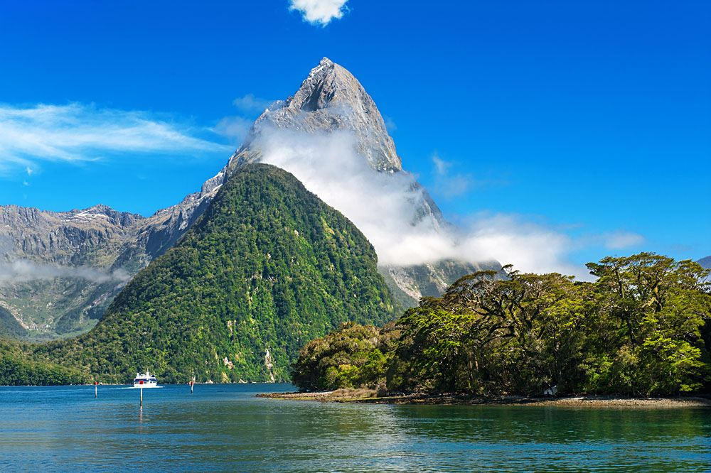 Mitre Peak rising from Milford Sound fiord, Fiordland National Park, New Zealand