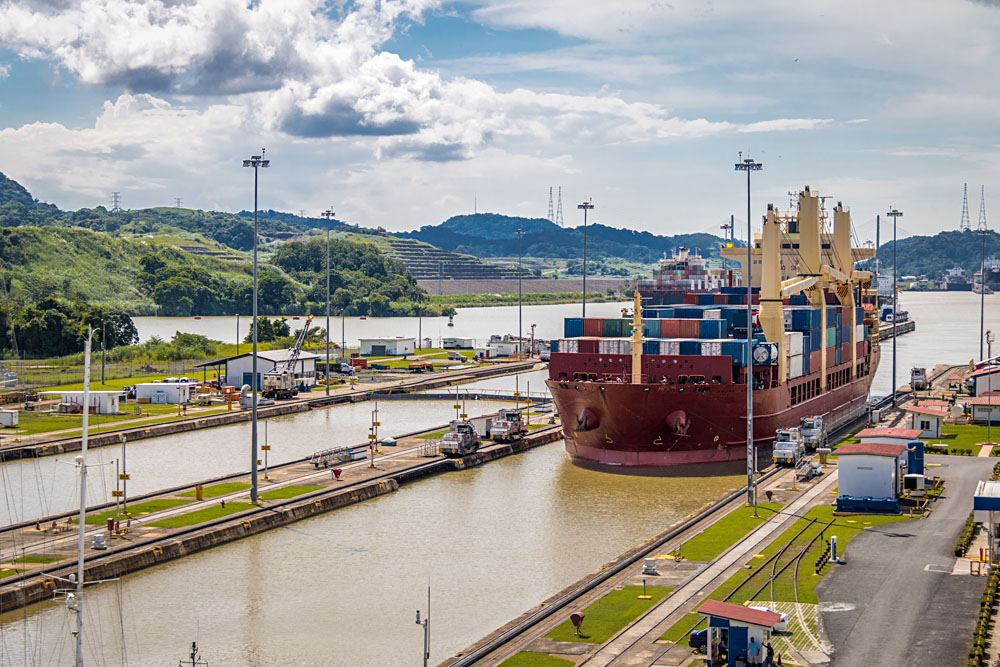 Ship crossing Panama Canal at Miraflores Locks, Panama City, Panama