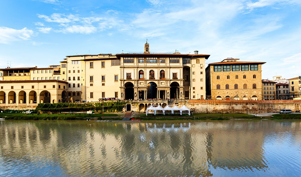 Uffizi Gallery and the corridor Vasariano on the Arno Riverbank, Florence, Italy