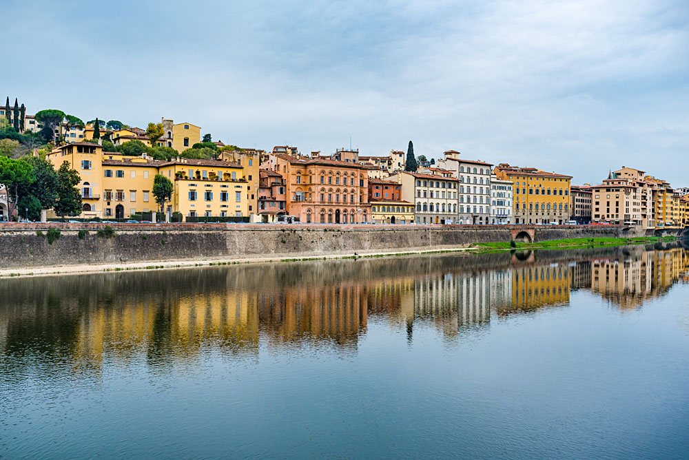 View of Oltrarno district along the Arno River, Florence, Italy