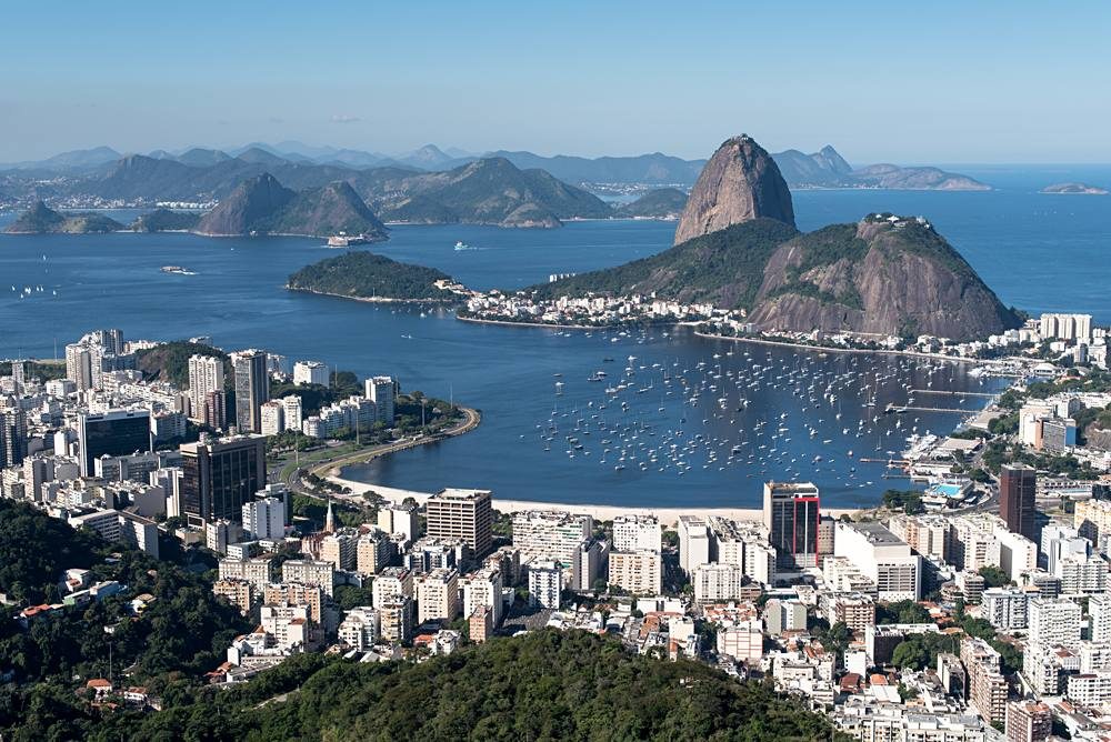 Aerial View of Rio De Janeiro looking towards Sugarloaf Mountain and the Atlantic, Brazil