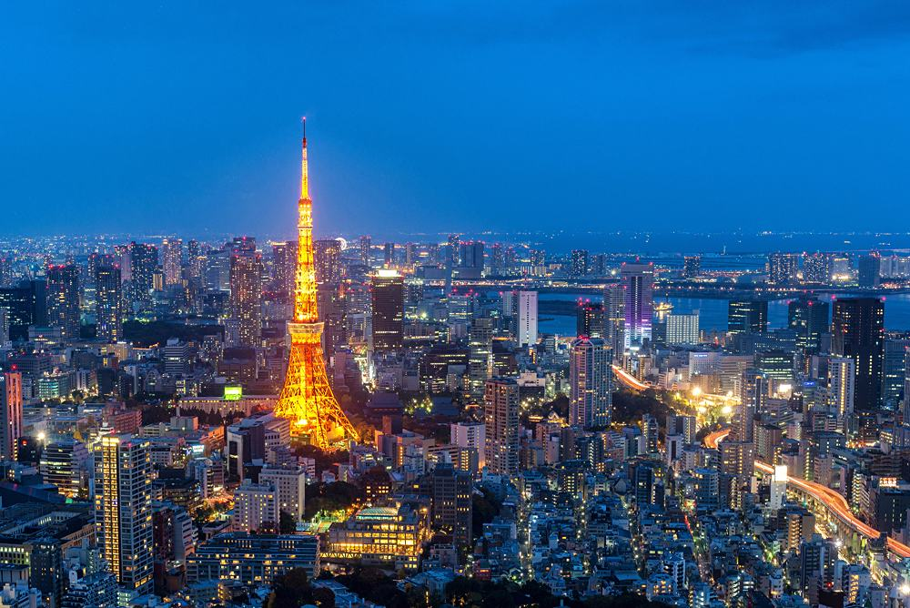 Aerial night view of Tokyo Tower from Mori Tower in Roppongi Hills, Tokyo, Japan