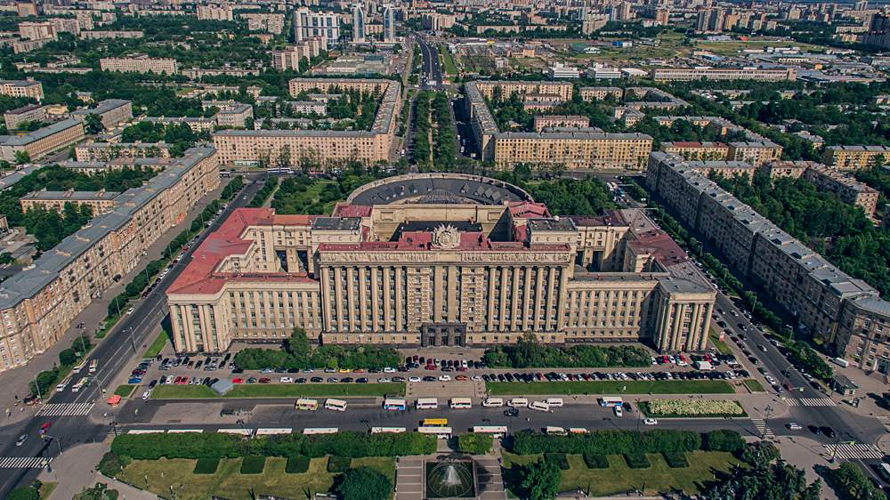 Aerial view of House of Soviets in St Petersburg, Russia