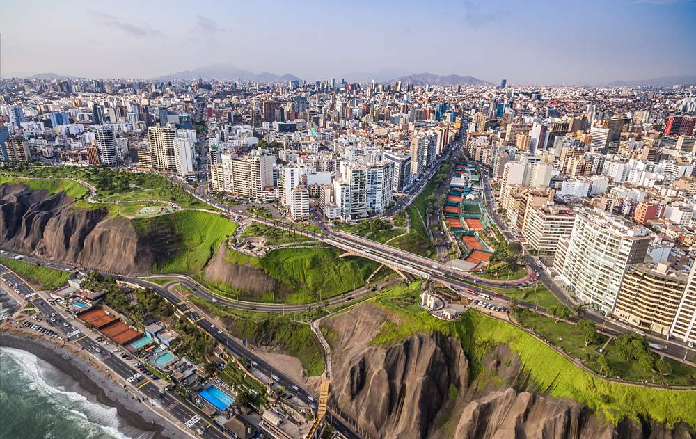 Aerial view of Miraflores and Lima in background, Peru