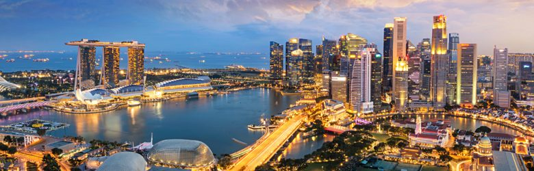 Aerial view of Singapore Skyline at night