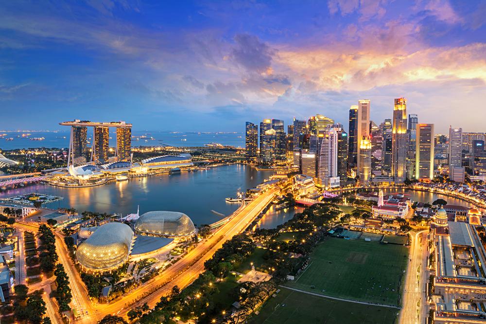 Aerial view of Singapore Skyline at night