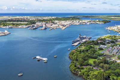 Aerial view of USS Arizona and USS Missouri Memorials at Ford Island, Pearl Harbor, Honolulu, Hawaii, USA