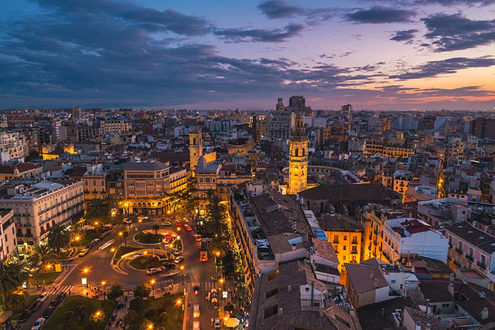 Aerial view of Valencia at sunset, Spain