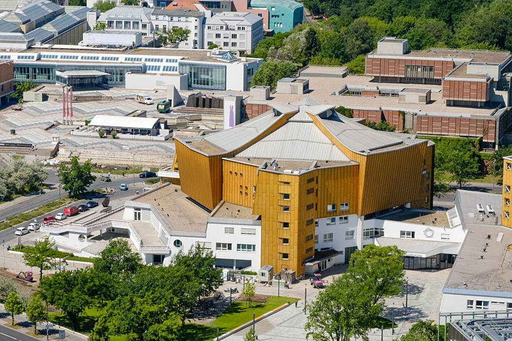 Aerial view of the Berliner Philharmonie concert hall in Berlin, Germany