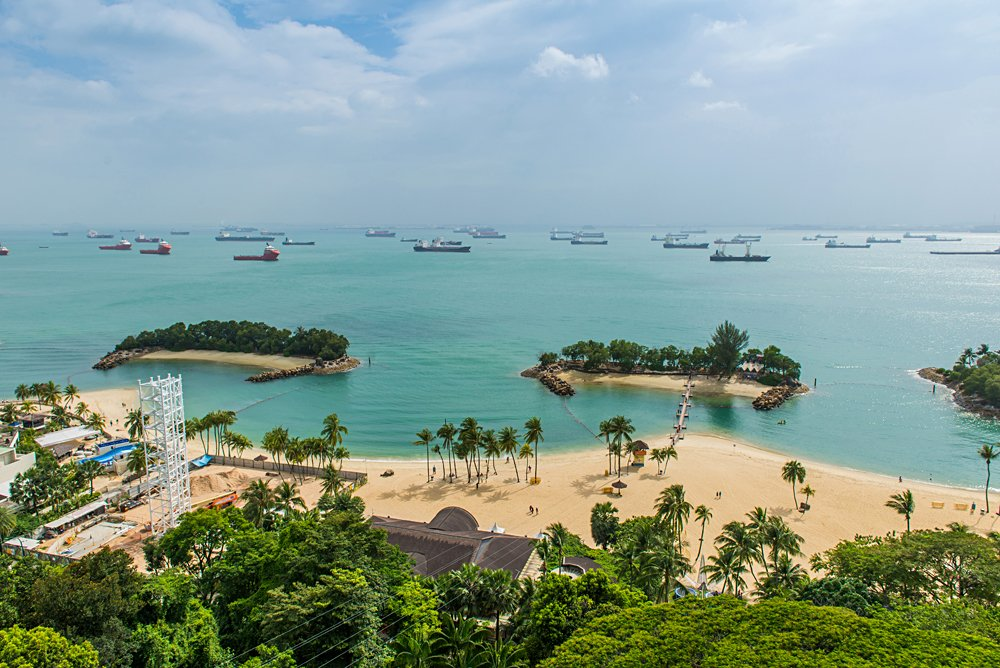 Aerial view of tropical beach on Sentosa island, Singapore