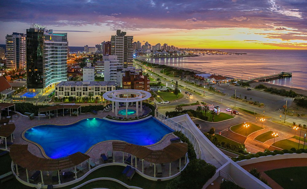 Aerial view over Punta Del Este and Atlantic Ocean at sunset, Uruguay
