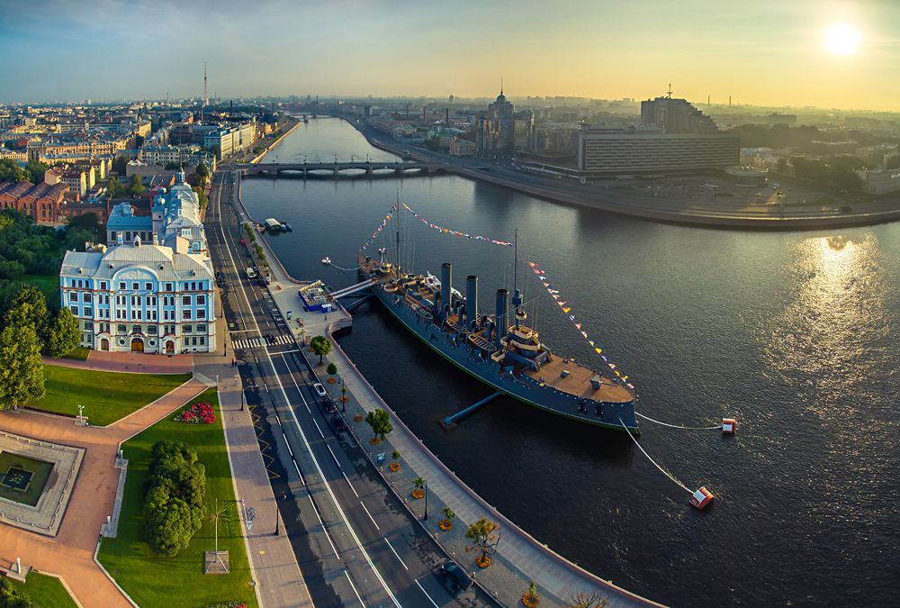 Aurora Battleship and Neva River, St Petersburg, Russia