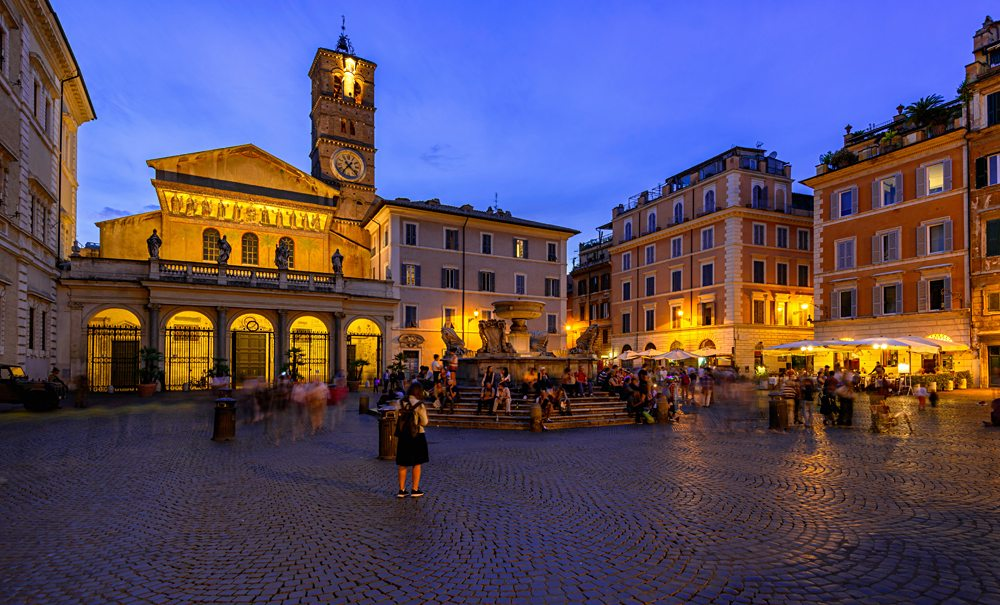 Basilica di Santa Maria and Piazza di Santa Maria in Trastevere at night, Rome, Italy