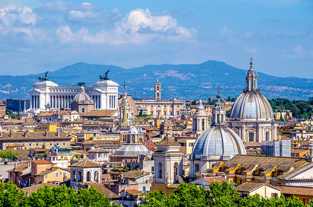 Beautiful cityscape of Rome taken from the top of Castel Sant Angelo, Rome, Italy