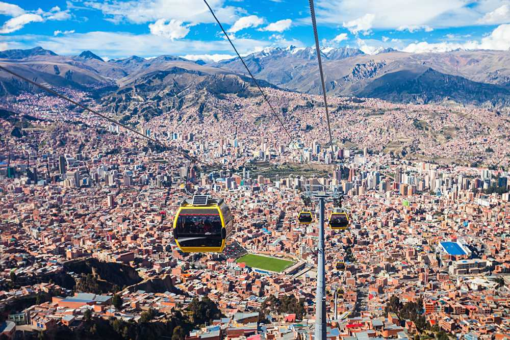 Cable car in La Paz city, Bolivia