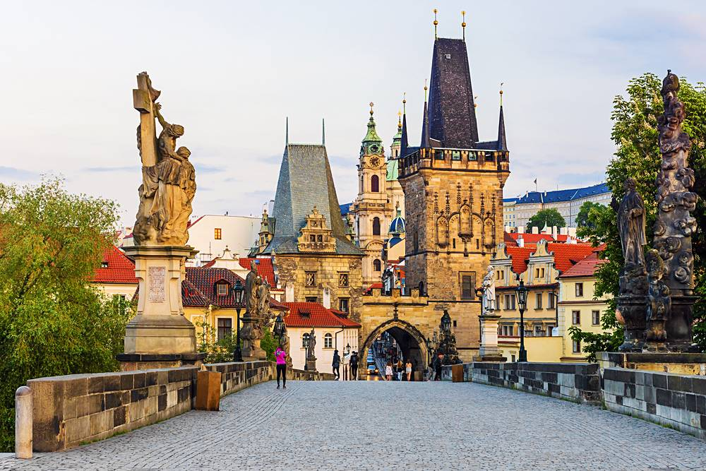 Charles Bridge in the morning in Prague, Czech Republic