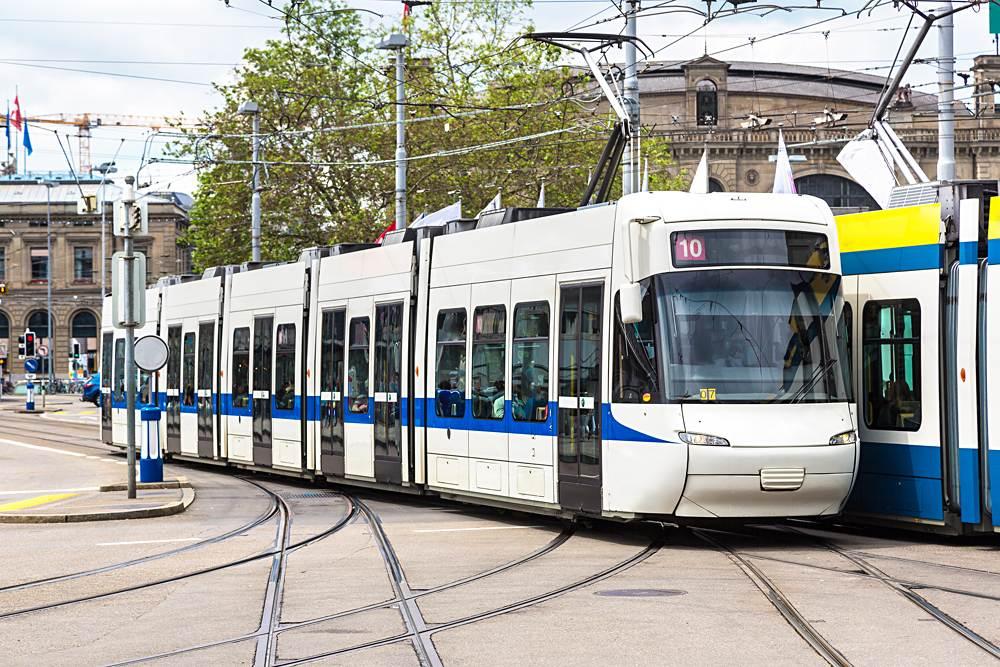 City tram (Line 10) in Zurich on a beautiful summer day, Switzerland