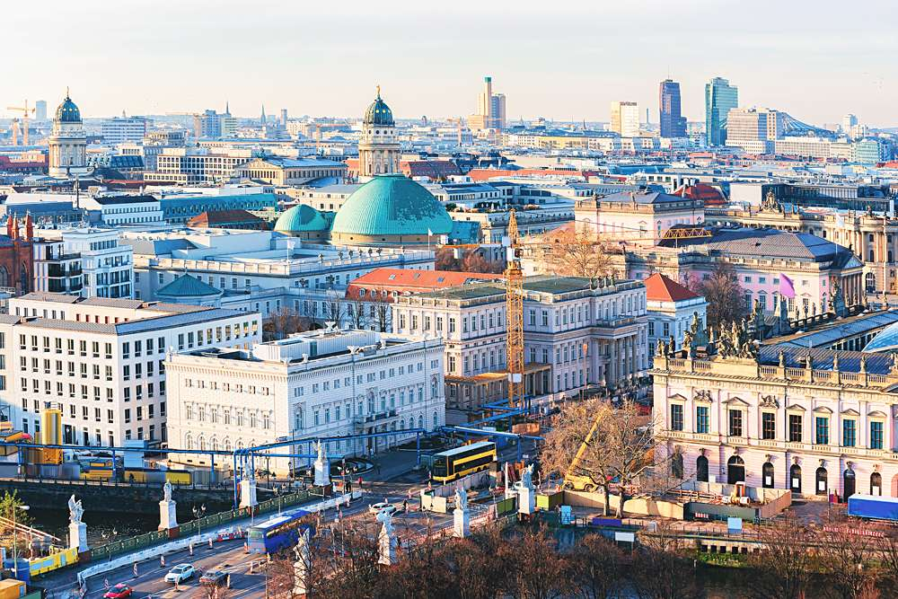 Cityscape with Unter den Linden Street in Berlin, Germany