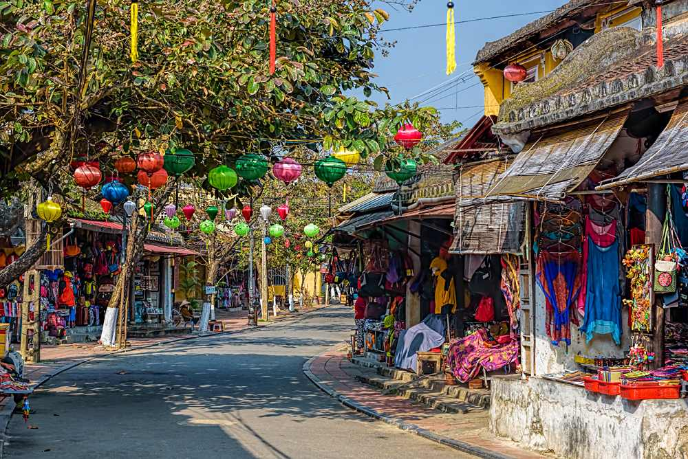 Colourful street with shops in Hoi An, Vietnam