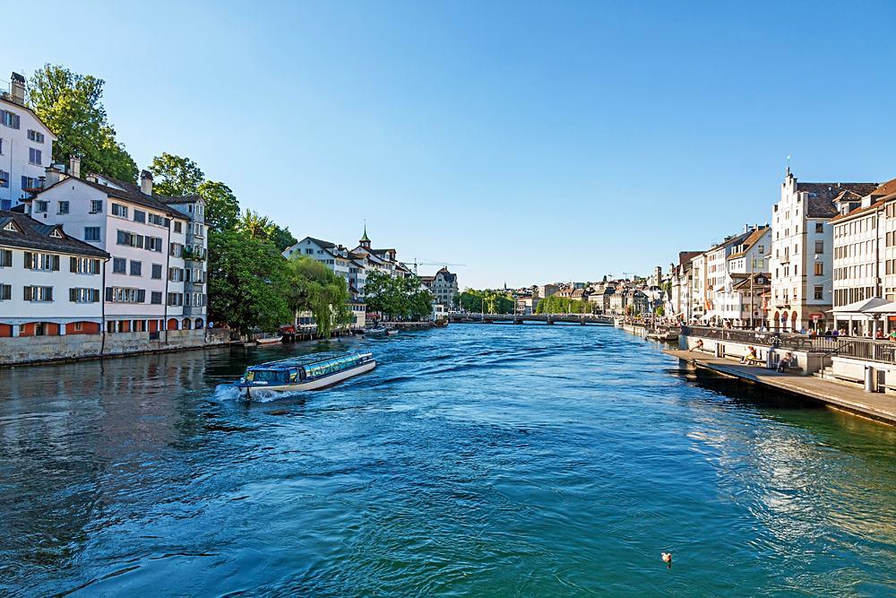 Cruise vessel on River Limmat at Canton of Zurich, Lake Zurich, Switzerland