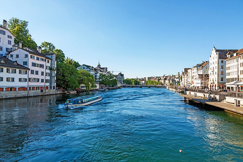 Cruise vessel on River Limmat at Canton of Zurich, Lake Zurich, Switzerland