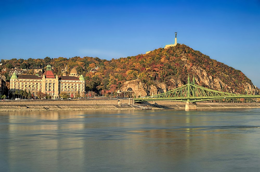 Gellert Hill and the Danube river in autumn, Budapest, Hungary
