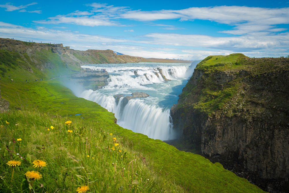 Gulfoss Waterfall in the summer, Iceland