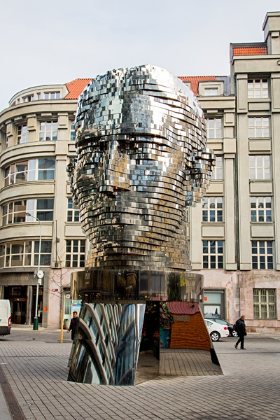 Head of Franz Kafka kinetic sculpture by Czech artist David Cerny, Prague, Czech Republic