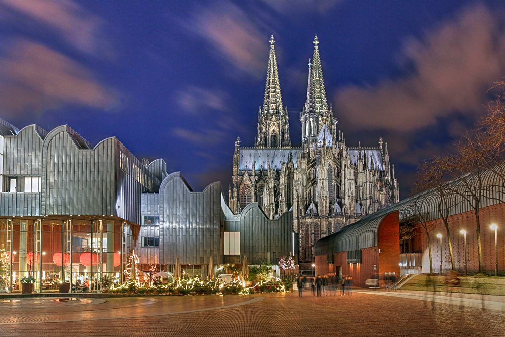 Heinrich-Boell Square with Cologne Philarmonie Hall, Ludwig Museum, and Cologne Cathedral, Cologne, Germany