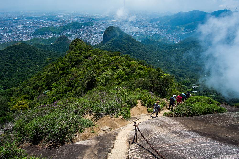 Hiking to Pico da Tijuca, the highest mountain in Tijuca Forest National Park, Rio de Janeiro, Brazil