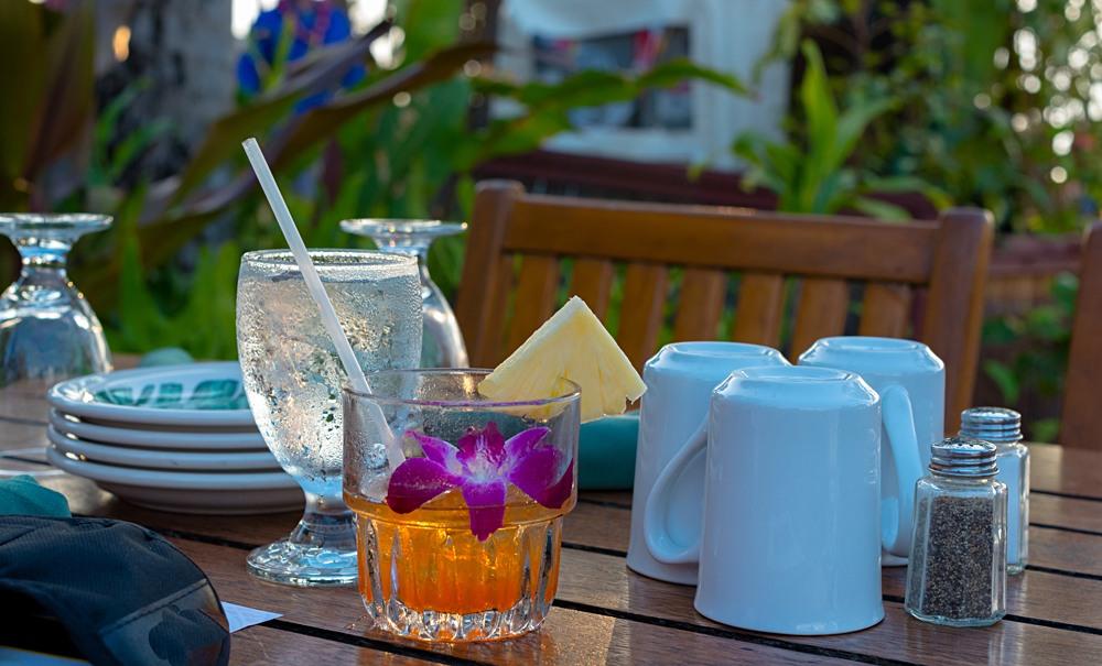 Mai Tai cocktail on a table set for a Luau, Hawaii, USA