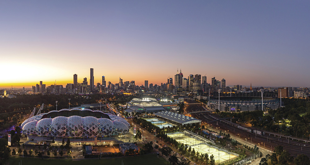 Melbourne City Skyline with Sports Precinct, Victoria, Australia
