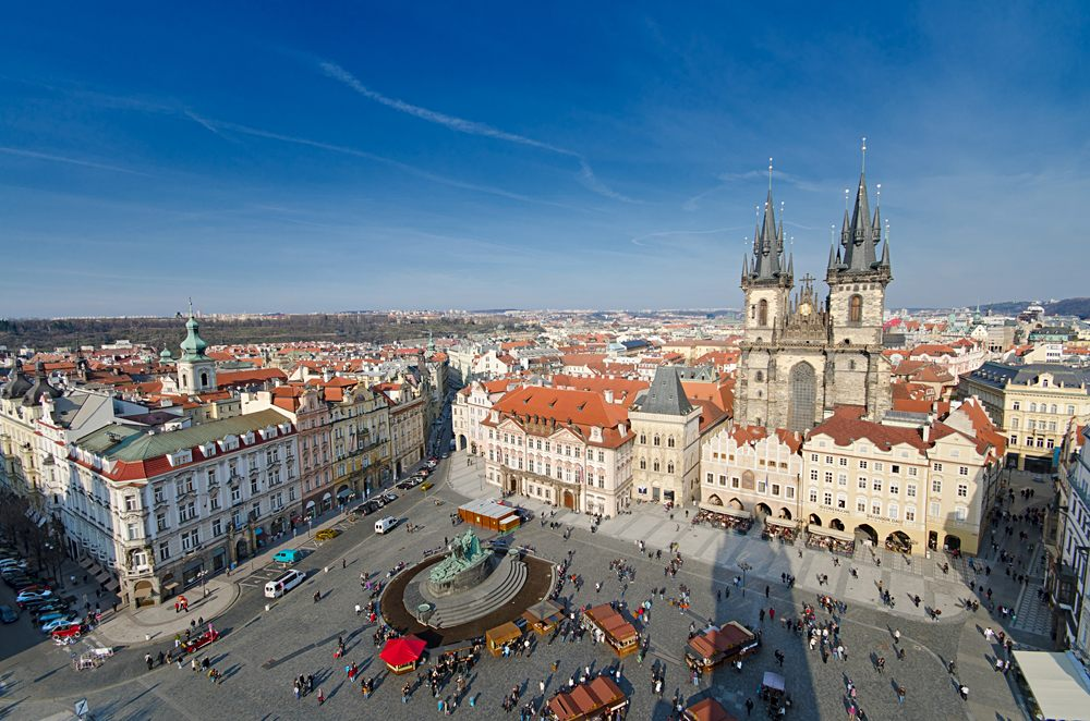 Panorama of Old Town Square and Church of Our Lady Before Tyn in Prague, Czech Republic