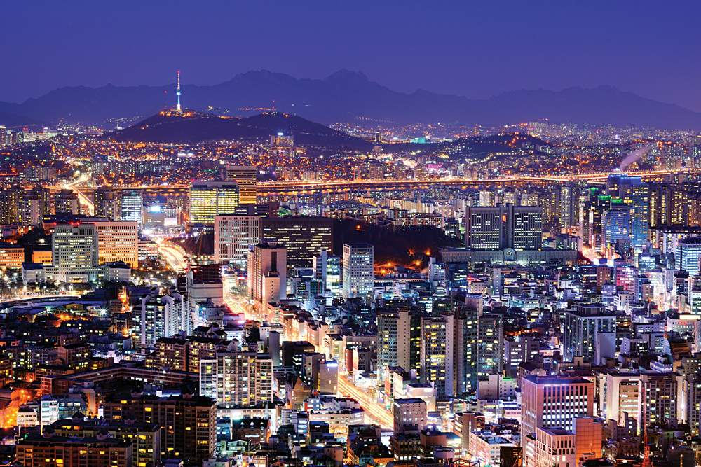 Seoul City Skyline at Night, Korea
