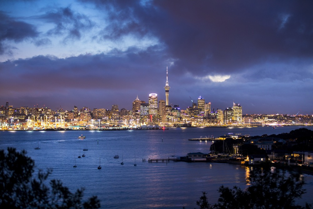 Skyline of Auckland at Night, New Zealand