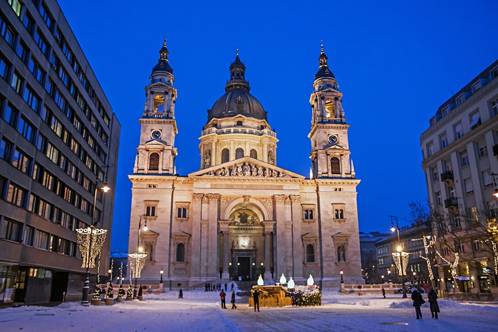 St. Stephen Basilica at night, Budapest, Hungary