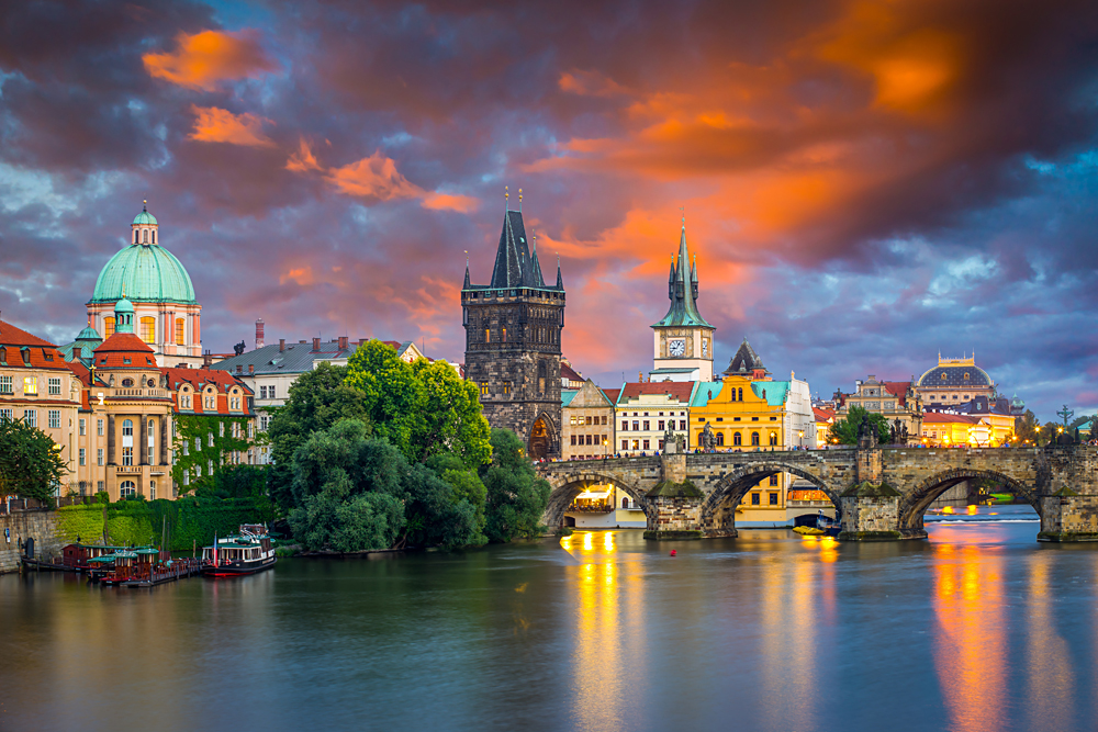 Sunset sky over the River Vltava and Charles Bridge, Prague, Czech Republic