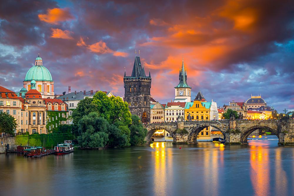 Sunset sky over the River Vltava and Charles Bridge, Prague, Czech Republic