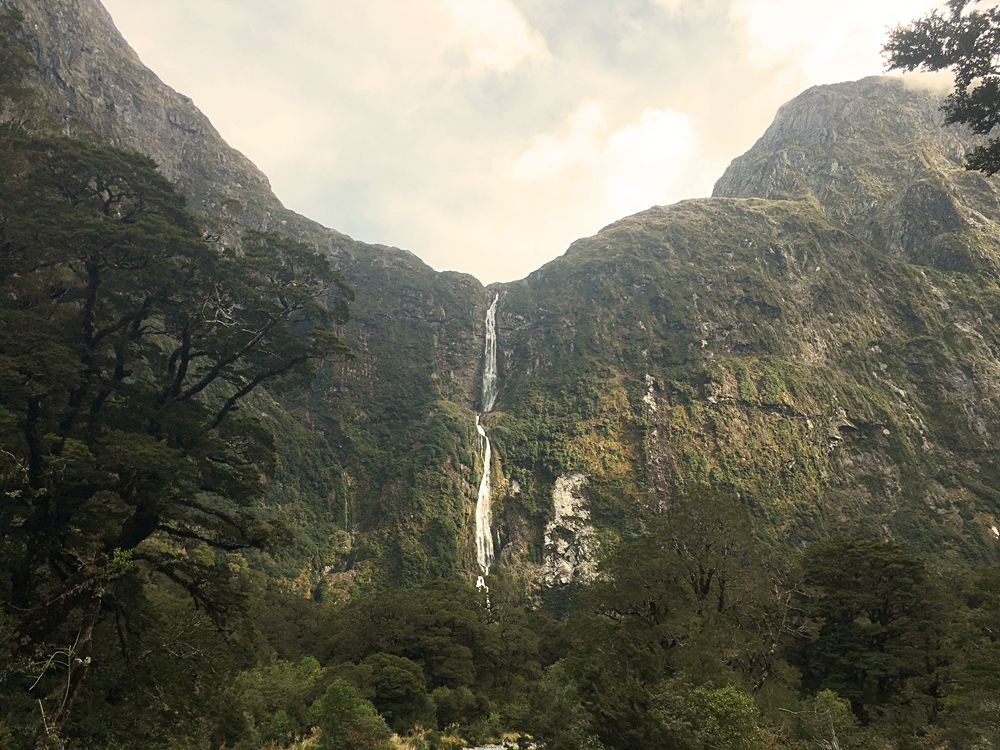 Sutherland Fall on Milford Track, South Island, New Zealand
