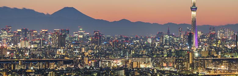 Tokyo city and Skytree with Mt Fuji in the background, Japan