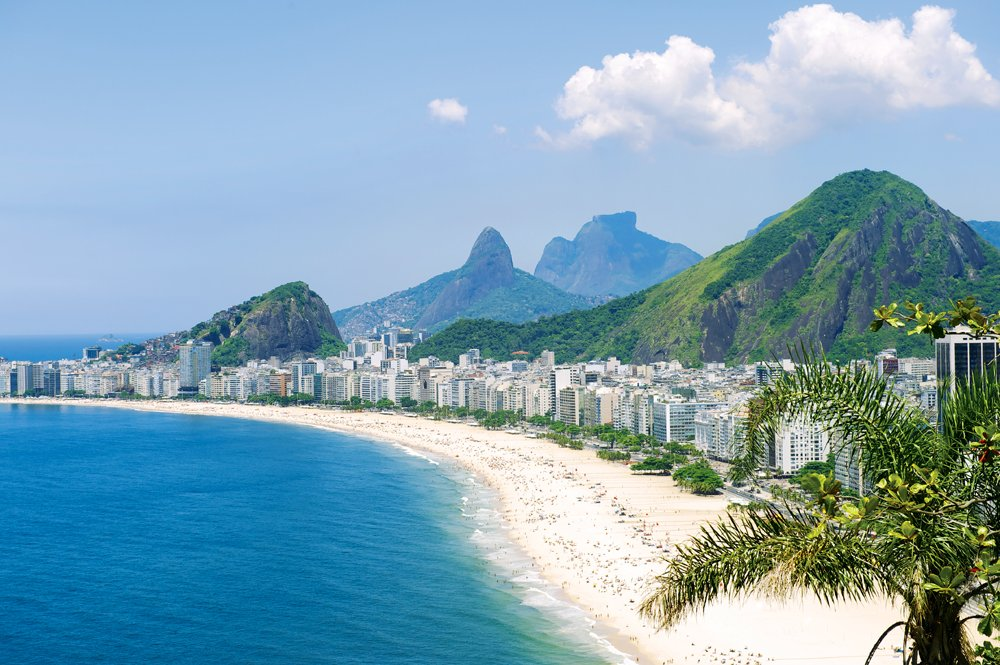 Tropical view of Copacabana Beach with city skyline of Rio de Janeiro, Brazil